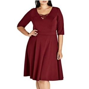 NWT City Chic Criss-Cross Front Skater Dress